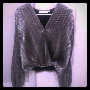 ASTR metallic silver blouse